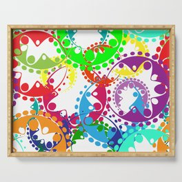 Texture of bright colorful gears and laurel wreaths in kaleidoscopic style. Serving Tray