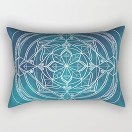 White Mandala - Dusky Blue/Turquoise Rectangular Pillow