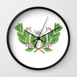 Yerba Mate Flower Leaf and Fruit Drawing Wall Clock