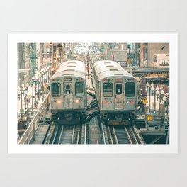Two El Trains Above Wabash in Chicago Train Subway Elevated Art Print