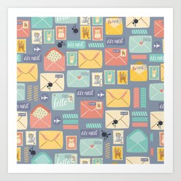 Retro styled pattern with letters and postcards Art Print