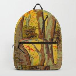 Asano Takeji Japanese Woodblock Print Vintage Mid Century Art Autumn Trees Shinto Shrine Backpack