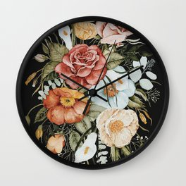 Roses and Poppies Bouquet on Charcoal Black Wall Clock