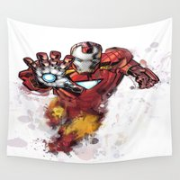 iron man Wall Tapestries featuring Iron Man by Isaak_Rodriguez