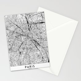 Paris White Map Stationery Cards