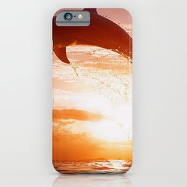 Phenomenal Super Cute Dolphin Jumping Water Romantic Sunset Ultra HD iPhone Case
