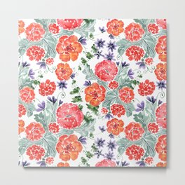 Floral pattern. Red, purple flowers on white. Metal Print