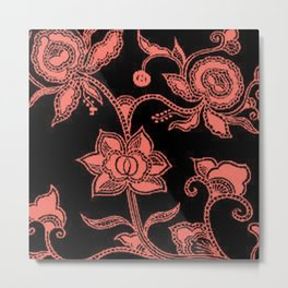Vintage Floral Peach Echo and Black Metal Print