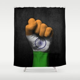 Indian Flag on a Raised Clenched Fist Shower Curtain