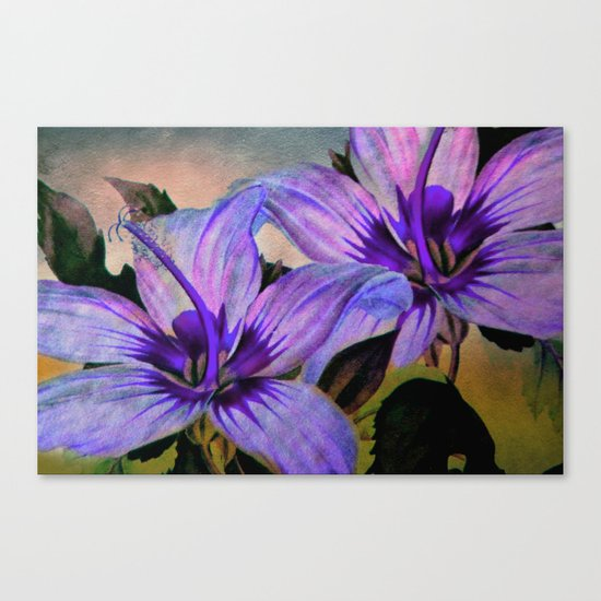 Vintage Painted Lavender Lily Canvas Print