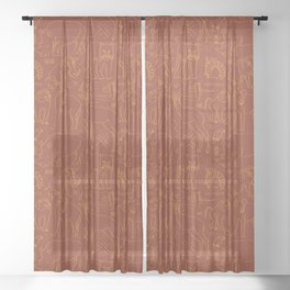 African Animal Mudcloth in Rust + Ochre Sheer Curtain