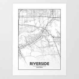 Minimal City Maps - Map Of Riverside, California, United States Art Print