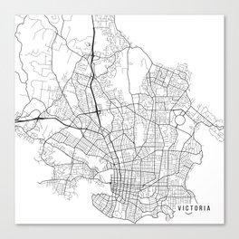 Victoria Map, Canada - Black and White  Canvas Print