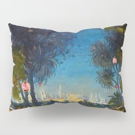 Nighttime Garden View with lanterns across a Lake towards a City by Thomas Mostyn Pillow Sham
