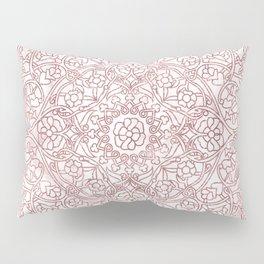Rose Gold Marble Mandala Pillow Sham