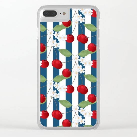 Seamless pattern with cherry and flowers on striped background Clear iPhone Case