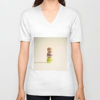 macaroons V-neck T-shirts featuring Macaroons  by Caroline Mint