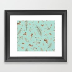 icy blue holiday corgis and twigs Framed Art Print