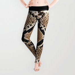 Pastel brown black white snakeskin animal pattern Leggings