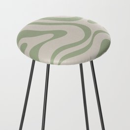 Liquid Swirl Abstract Pattern in Almond and Sage Green Counter Stool