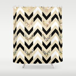 Black, White & Gold Glitter Herringbone Chevron on Nude Cream Shower Curtain
