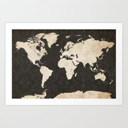 World Map - Ink lines Art Print