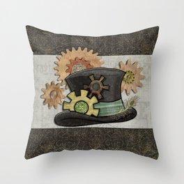 Steam Sass Steampunk Mixed Media Throw Pillow