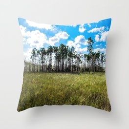 Cypress Trees and Blue Skies Throw Pillow