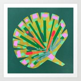 Fan Leaf in Green Art Print