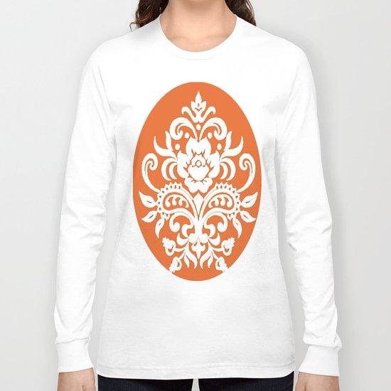 Damask on Peach Long Sleeve T-shirt