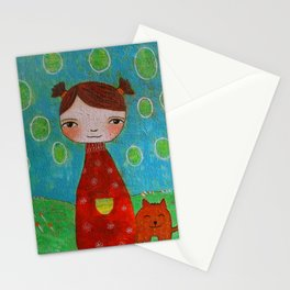 Girl Ala with cat Stationery Cards