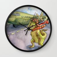 pilot Wall Clocks featuring Tyranosaurus Pilot by Theresa Lammon