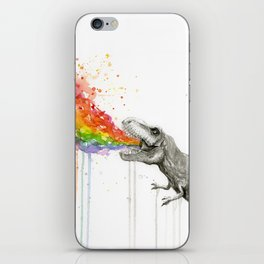 T-Rex Dinosaur Rainbow Puke Taste the Rainbow Watercolor iPhone Skin