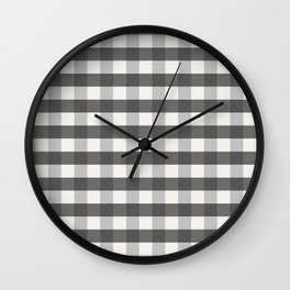 Grey and Pottery White Plaid Gingham Farmhouse Country Canvas digital texture Wall Clock