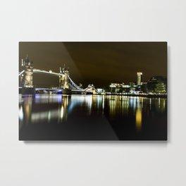 Night photo of Tower Bridge London with light reflections Metal Print