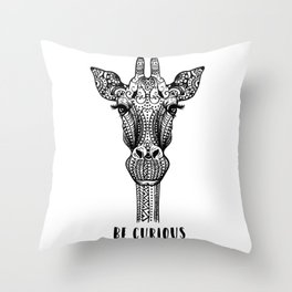 Giraffe Illustration Throw Pillow