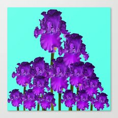 Contemporary Blue &  Purple Iris Garden Art Canvas Print