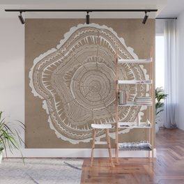 Tree Rings – White Ink on Kraft Wall Mural