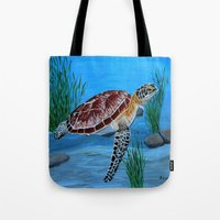 sea turtle Tote Bags featuring Sea turtle  by maggs326