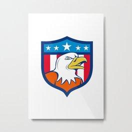 American Bald Eagle Head Angry Flag Crest Cartoon  Metal Print