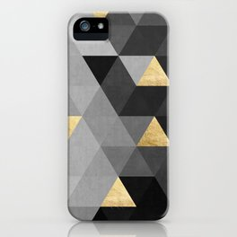 Concrete gray and gold composition iPhone Case