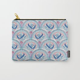 Art Deco Fresco in Cool Mediterranean Blue and Red Carry-All Pouch