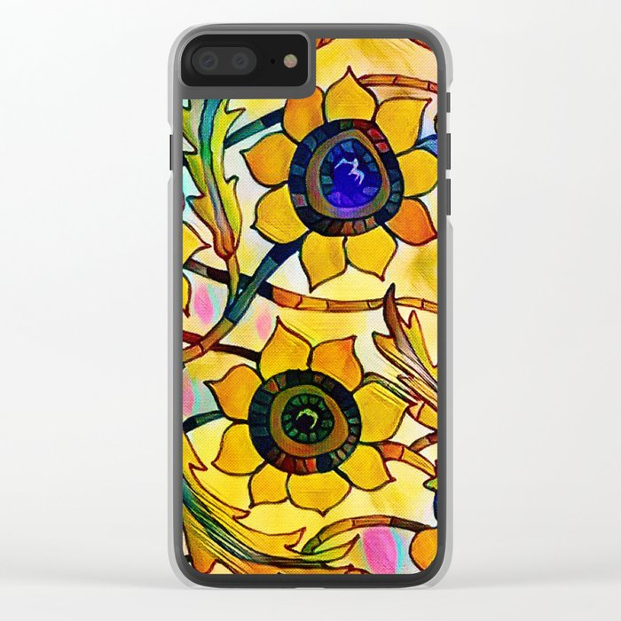 Sunny Sunflowers Clear iPhone Case