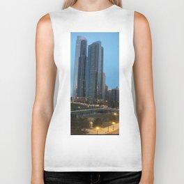 Chicago Skyline, Skyscrapers, Sunset Biker Tank