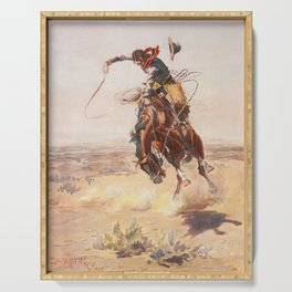 A Bad Hoss by Charles Marion Russell (c 1904) Serving Tray