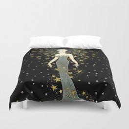 """Art Deco Sepia Illustration """"Star Studded Glamor"""" Duvet Cover"""