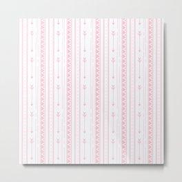 Blush pink white bohemian arrows zigzag geometrical Metal Print