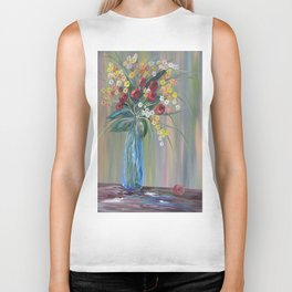 Flowers in a Blue Vase Soft Focus Biker Tank