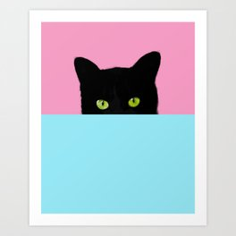 Black Hidden Cat Pink Art Print