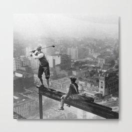 Tough Par Four - Golf Game at 1000 feet black and white photograph Metal Print